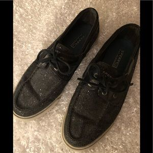 Sperry Top-Sider Black Sparkle Tie Shoes Size 9M